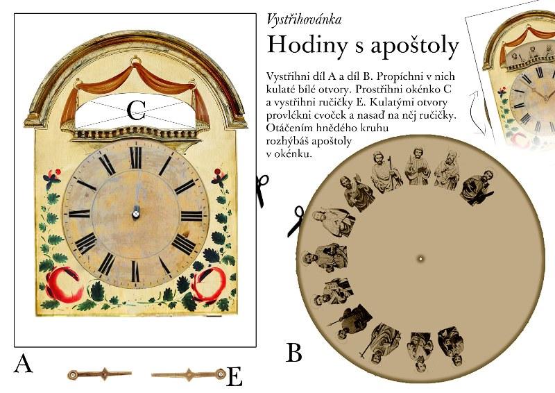 Vystřihovánka hodin s apoštoly