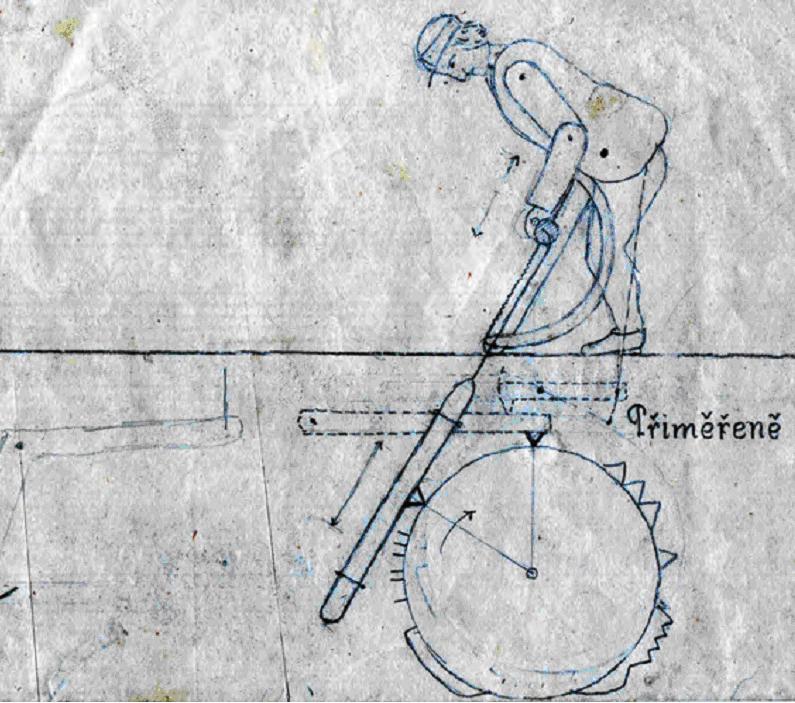 Schéma mechanické figury J Metelky